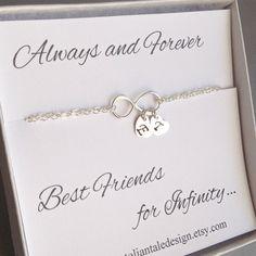 Best Friend Gift, Friendship Bracelet, Sterling Silver Infinity Bracelet, Initial Infinity Bracelet, Two Initial, Heart, Monogram, Letter