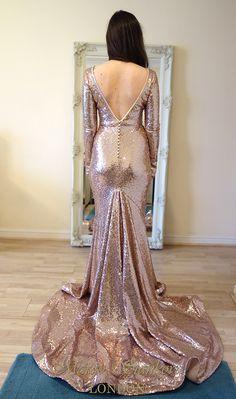 Margo Stankova LONDON Non-traditional blush sequin wedding dress