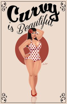 Pin up girl ladies / women bbw / nice curves. Art artistically done Beautiful Curves, Big And Beautiful, Nice Curves, Body Curves, Pin Up Girls, Art Beauté, Plus Size Art, Modelos Plus Size, Moda Vintage