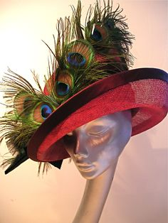 red straw with peacock feathers Peacock Feathers, Captain Hat, Hats, Red, Hat, Hipster Hat
