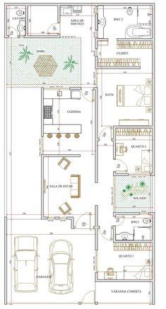 Projeto de casa térrea de 3 quartos com 120,01m²
