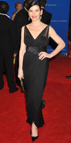 i am captivated by this dress - beautiful use of fabric draping, tasteful use of sheer, classic neckline. (Julianna Margulies in Jean Dessès, 2014)