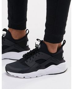 release date: 52eb2 aa07c Nike Air Huarache Mens Run Ultra Black and White NIKE180 Black Huarache, Nike  Huarache Women