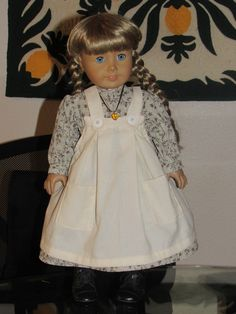 American Gown Costume Historical~Blue and Yellow Pioneer Girl~18 inch Doll Set