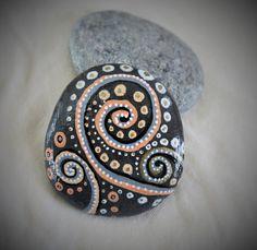 Black Rock (design), handcrafted, painted stone rock, stone rock art, sea stone