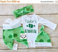 LAST CHANCE SALE ends2-18 St. Patrick's Day Outfit,Unisex Coming Home Outfit,Baby St. Patrick's Day Outfit,Custom Names 1st St. Patrick's Da