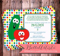 Veggietales Inspired Invitation, Vegetable Invite for Child's Birthday Party Veggie Tales. $15.00, via Etsy.