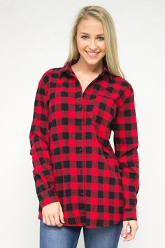 Gingham Flannel Button Down Shirt