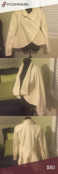 Cream jacket Has minor stains as seen in photo. Never worn. Gracia Jackets & Coats Blazers