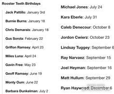 Rooster teeth birthday dates