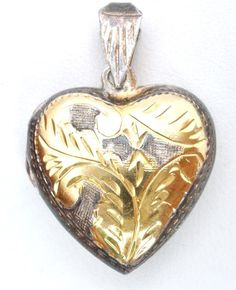 Sterling Silver Gold Heart Locket Vintage Puffed Etched Pendant Vermeil  #Unbranded #Locket