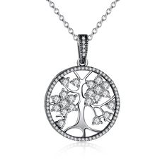 BAMOER 925 Sterling Silver Tree of Life Pendant 18 Inches Metal Birthday Gift for Her Women Clear Cubic Zirconic Necklace