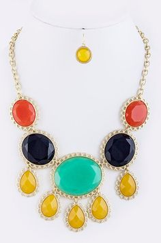 Laced Color Block Jewel Necklace with Earrings - Anthropologie Inspired Statement Necklace - Mint, Navy, Orange, Mustard Yellow. via Etsy.
