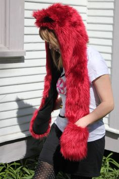 Furry Hat - Combo Dark Red and Black Kokoro Hood Furry Cat Animal Hat Made to Order. $88.00, via Etsy.