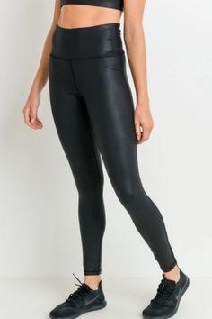 Black Foil Highwaist Leggings – Melissa Jean Boutique Polyester Spandex Fabric, Pattern Making, Size Chart, Latest Fashion, Pairs, Leggings, Boutique, Stylish, Slot