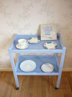Shabby Chic Tea/Hostess Trolley Occasional Table in Annie Sloan Louis Blue & Wax | eBay
