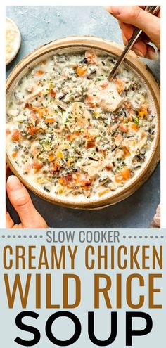 This easy Creamy Chicken and Wild Rice Soup is made with the convenience of the slow cooker! Rich and packed with chicken, bacon, veggies and wild rice, this crockpot soup is sure to hit the spot and become a family favorite! #crockpot #chicken #wildrice #soup #easy #recipe via @nospoonn