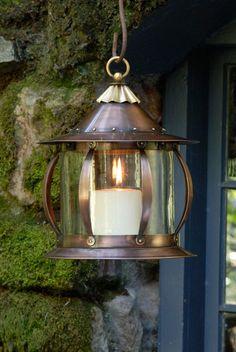 Rustic copper finish lantern.