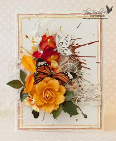 note: watercolor splotches bsckground         Scrap story ...: My new card for SCRAPINIEC