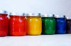 Homemade finger paint -- perfect for a rainy day activity! By @Easie Peasie