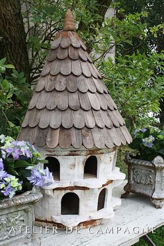 "Dovecote made out of wine barrel and reclaimed wood made in England Size 50""H x 31""W x 17"" D"