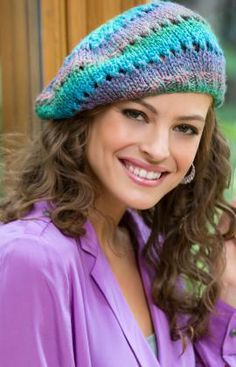 Butterfly Knit Beret Free Knitting Pattern from Red Heart Yarns