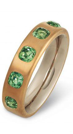 Hemmerle bangle, tourmalines, brass, white gold