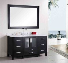 Visit The Home Depot to buy Design Element Stanton 60 in. W x 22 in. D x 34 in. H Vanity in Espresso with Marble Vanity Top in Crema Marfil and Mirror Bathroom Standing Cabinet, Modern Bathroom Cabinets, Bathroom Vanity Designs, Small Bathroom Vanities, Single Sink Bathroom Vanity, Vanity Sink, Vanity Mirrors, Single Vanities, White Bathroom
