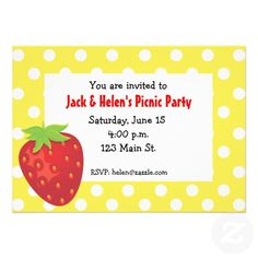 Yellow, White and Red Polka Dot Strawberry Invitations ... ideal for any summer party or picnic. Available at www.gem-ann.com (Zazzle store).