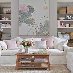 decoração de sala em tons de rosa