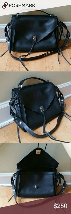 Rebecca Minkoff Darren Messenger Satchel Excellent condition Comes with dust bag This not the mini size  Retail $345 Black with gunmetal hardware  adjustable strap to shoulder bag or crossbody bag  Tagged madewell for exposure Madewell Bags