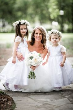 Your little princesses for the day adorned with a perfect flower crown! #cedarwoodweddings Southern Classic Family Style Wedding :: Julie+Kyle | Cedarwood Weddings