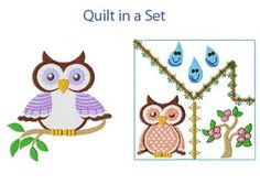 Spring Owls Machine Embroidery Designs http://www.designsbysick.com/details/springowl
