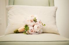 Pink Peony wedding Bouquet with Peach Ribbon