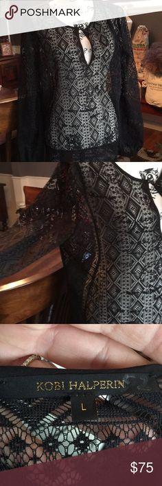Kobo Halperin sheer blouse NEW - never worn Beautiful long blouse sheer detail . kobi Halperin Tops Blouses