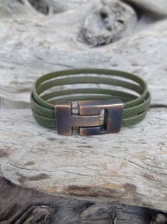 Men's Green Leather Bracelet, Multistrand Green Leather with Copper Magnetic Clasp, Men's Leather Jewelry, Men's Leather Cuff, Gift for Him Men's Leather, Green Leather, Leather Jewelry, Green Fashion, Men's Fashion, Jewelry Shop, Jewellery, Artisan Jewelry, Fathers Day Gifts