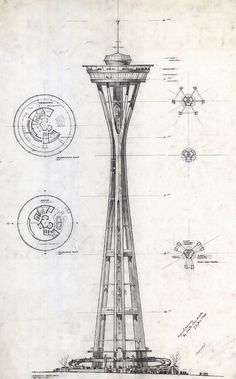 Space Needle, Century 21 Exposition 1962 Seattle World's Fair. Preliminary sketch and floor plans, Victor Steinbreuk Architecture Drawings, Amazing Architecture, Modern Architecture, Installation Architecture, Architecture Diagrams, Chinese Architecture, Architecture Portfolio, Deco Originale, Googie