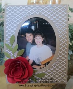 """Visit this link for the blog post as well as the video tutorial on how to create an """"easel card"""" such as this one.  http://www.stampingyearround.com/2014/03/facebook-and-throw-back-thursdays.html"""