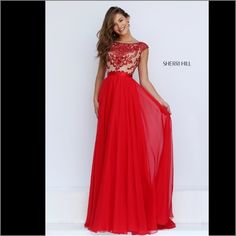 Sherri hill dress 11332 Description:  Long Chiffon Prom Dress by Sherri Hill. Prom Dress 2016 with beautiful sequin detail on the bodice and stunning long flowing chiffon skirt. Sherri Hill 11332 red /nude . Wear as a Prom Dress, Pageant Dress, Evening Dress, or for any other special occasion dress. Sherri Hill Dresses Maxi