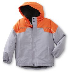 Boys Canyon River Blues Gray & Orange Winter Coat Jacket Size 14/16. *Fleece Lining *Full Zipper with Storm Shield. *Zippered Side Pockets *Attached Fleece Hood. *Velcro at Sleeves.