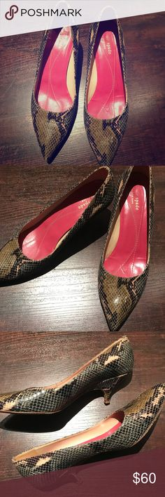 Kate Spade ♠️ Python kitten heels KATE SPADE ♠️ten♠️ brown/tan/green/grey Python exterior with pink interior♠️ pointed toe, kitten heel♠️ very cute, sophisticated for work, or with jeans for play!! Only sign of wear is on the sole, exterior print looks great, super clean! EUC, priced to sell ♥️♠️♥️♠️ kate spade Shoes Heels