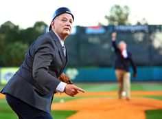 Bill Murray was standing outside the Charleston RiverDogs' dugout Thursday night, sporting a backward catcher's hat, shades and a coat and tie when he took a quick survey of the crowd at Riley Park.