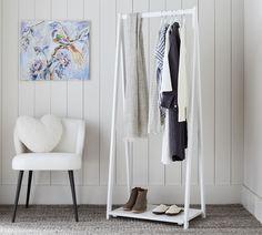 Essential Small Space Closet Rack | Pottery Barn Small Closet Space, Small Spaces, Free Interior Design, Interior Design Services, Rack Shelf, Storage Shelves, Shoe Tidy, Standing Coat Rack, Home Storage Solutions