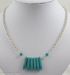 Turquoise Gemstone Daggers Beaded Necklace and Earrings Set - Handmade - Real Turquoise, Gemstone Beads