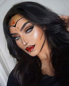Inspiration & Accessoires: Wonder Woman Kostüm Make Up selber machen - Beauty, Make-Up - Halloween Pop Art Makeup, Crazy Makeup, Cute Makeup, Pretty Makeup, Makeup Ideas, Fx Makeup, Makeup Tutorials, Face Makeup Art, Makeup Brushes