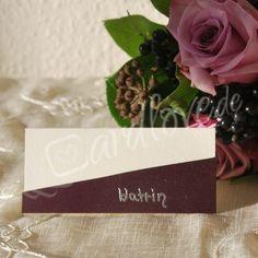 Tischkarte Adina in lila-creme