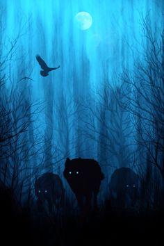 wolf, wolves, night sky, moon... Mystical art prints on Society6