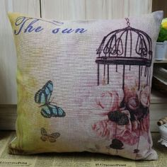 """45*45cm Cute Flower Bird Cage Decorative Cushion Cover :         .        Product name: Cushion Cover CC19  Size:18""""x18"""" (45cmx45cm)  Material: Linen Cotton  Hidden Zip closure  Cushion Cover only, Price is for 1pc.    Remark:   1.The Printing is in the front, no printing only natural color of linen in the back.  2.All cushions are handmade, so please u...Check Price >> http://gethotprice.com/appin/?t=B008R992XM"""