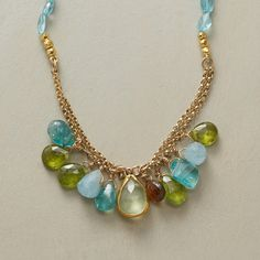 """SKY HIGH NECKLACE--Bright teal apatites grasp a bouquet of gemstones of peridot, aquamerine and apatite clustered on 14kt gold filled links. Handcrafted exclusively for us by Nava Zahavi. 18kt gold beads, 24kt gold plate hook clasp. 18""""L..polishingCloth {display:none"""