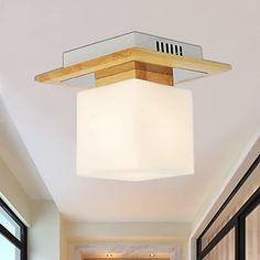 eik taklampe, ett lys, eik og glass, 220 ~ 240 V (hy9021) – NOK kr. 385